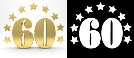Golden number sixty on white background with drop shadow and alpha channel , decorated with a circle of stars. 3D illustration Stock Photo