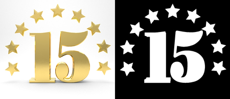Golden number fifteen on white background with drop shadow and alpha channel , decorated with a circle of stars. 3D illustration