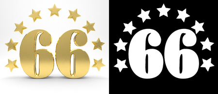 Golden number sixty six on white background with drop shadow and alpha channel , decorated with a circle of stars. 3D illustration