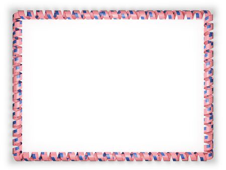authenticity: Frame and border of ribbon with the USA flag. 3d illustration