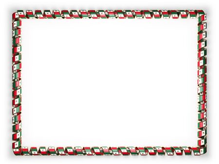 authenticity: Frame and border of ribbon with the Mexico flag, edging from the golden rope. 3d illustration Stock Photo