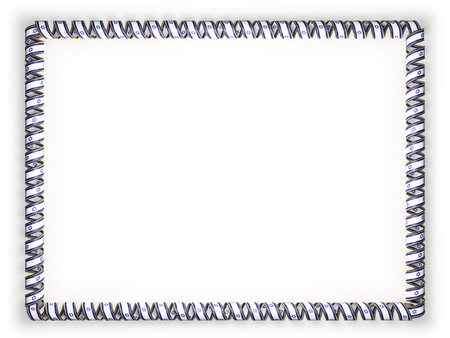authenticity: Frame and border of ribbon with the Israel flag, edging from the golden rope. 3d illustration Stock Photo