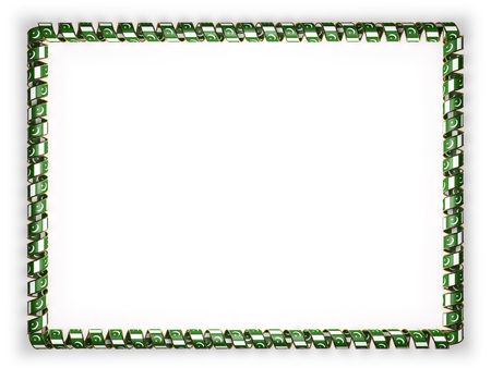 authenticity: Frame and border of ribbon with the Pakistan flag, edging from the golden rope. 3d illustration