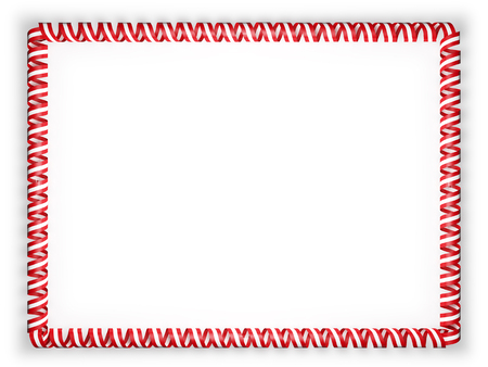 authenticity: Frame and border of ribbon with the Austria flag. 3d illustration Stock Photo
