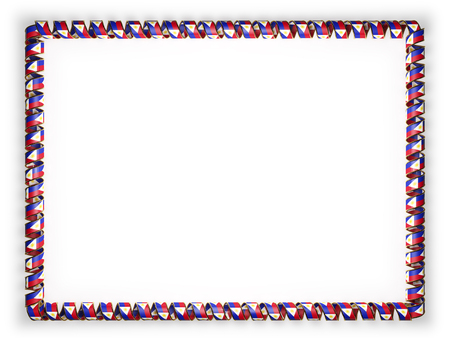 authenticity: Frame and border of ribbon with the Philippines flag, edging from the golden rope. 3d illustration