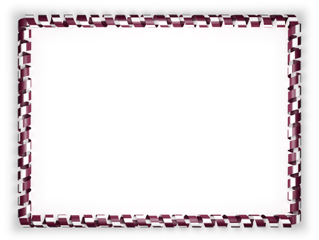 Frame and border of ribbon with the Qatar flag. 3d illustration