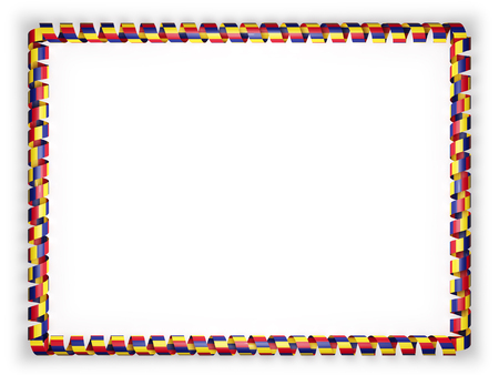 Frame and border of ribbon with the Romania flag. 3d illustration