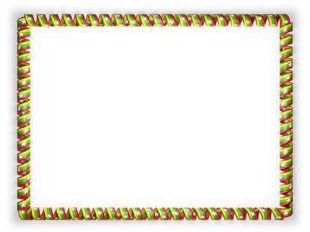 Frame and border of ribbon with the Myanmar flag, edging from the golden rope. 3d illustration Stock Photo