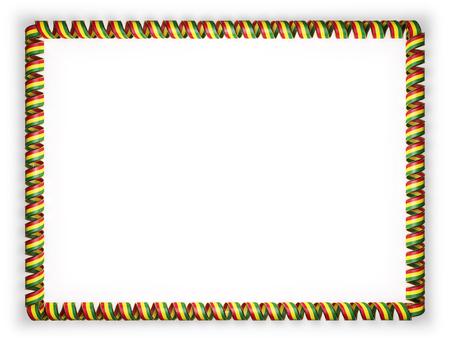 Marco y borde de cinta con la bandera de Bolivia, borde de la cuerda de oro. 3d ilustración Foto de archivo