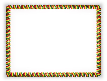 Frame and border of ribbon with the Bolivia flag, edging from the golden rope. 3d illustration