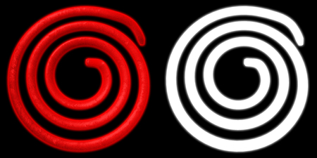 fire wire: Electric spiral heated to a red. Heating coil element. with alpha channel. 3D illustration Stock Photo