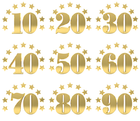 40: Set of golden digit from ten to ninety, decorated with a circle of stars. 3D illustration