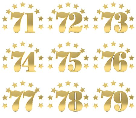 six years age: Set of golden digit from seventy one to seventy nine, decorated with a circle of stars. 3D illustration