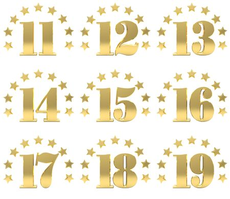 thirteen: Set of golden digit from eleven to nineteen, decorated with a circle of stars. 3D illustration