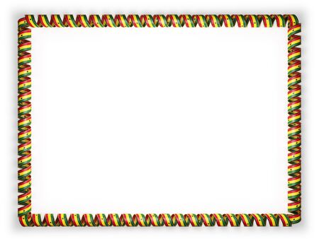 Frame and border of ribbon with the Ghana flag, edging from the golden rope. 3d illustration