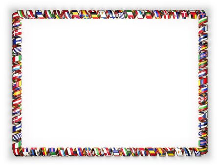 all european flags: Frame and border of ribbon with flags of all countries of the European Union, edging from the golden rope. 3d illustration