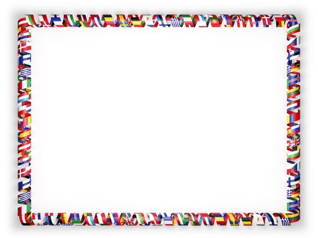 all european flags: Frame and border of ribbon with flags of all countries of the European Union. 3d illustration