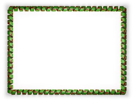 Frame and border of ribbon with the Zambia flag, edging from the golden rope. 3d illustration