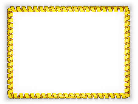Frame and border of ribbon with the state New Mexico flag, USA, edging from the golden rope. 3d illustration