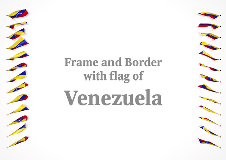authenticity: Frame and border with flag of Venezuela. 3d illustration