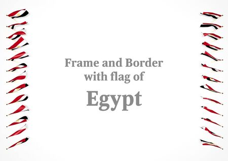 authenticity: Frame and border with flag of Egypt. 3d illustration