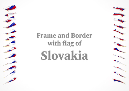 Frame and border with flag of Slovakia. 3d illustration