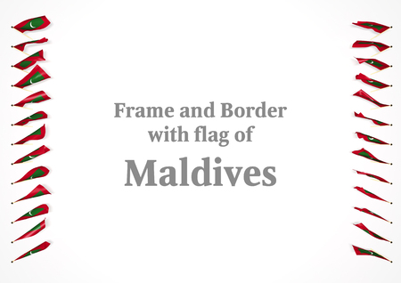 authenticity: Frame and border with flag of Maldives. 3d illustration Stock Photo