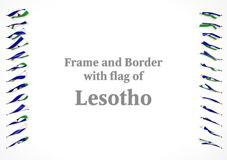 authenticity: Frame and border with flag of Lesotho. 3d illustration