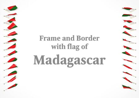 madagascar: Frame and border with flag of Madagascar. 3d illustration Stock Photo