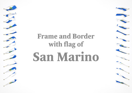 authenticity: Frame and border with flag of San Marino. 3d illustration Stock Photo