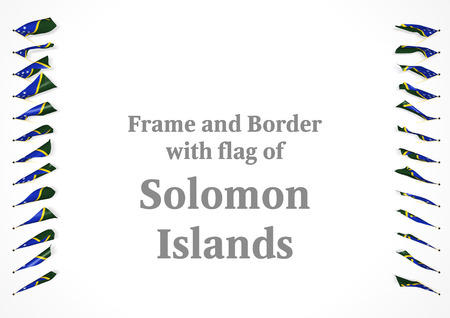 authenticity: Frame and border with flag of Solomon Islands. 3d illustration