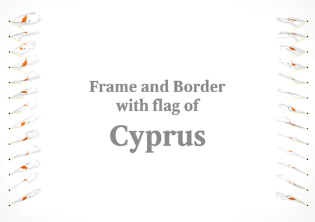 authenticity: Frame and border with flag of Cyprus. 3d illustration