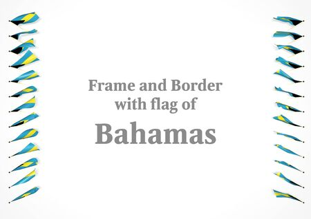 authenticity: Frame and border with flag of Bahamas. 3d illustration Stock Photo