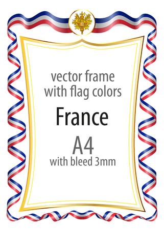 Cornice e bordo con il braccio delle etichette e nastro con i colori della Francia bandiera
