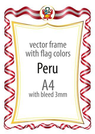 cadre et bordure avec le manteau de bras et le ruban avec les couleurs du drapeau du pérou Vecteurs