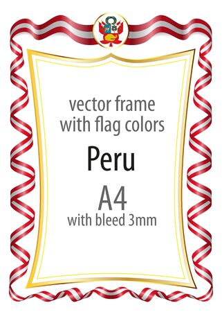Frame and border with the coat of arms and ribbon with the colors of the Peru flag Vektorové ilustrace