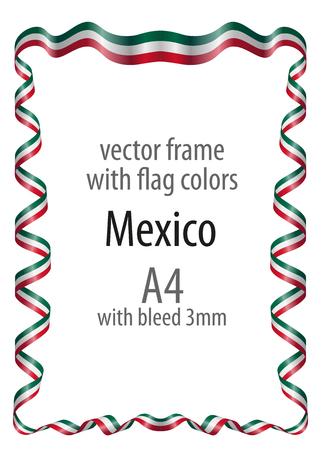 Marco Y Borde De Cinta Con Los Colores De La Bandera De México ...