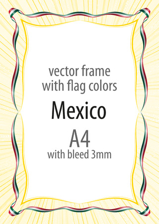 frame and border of ribbon with the colors of the mexico flag
