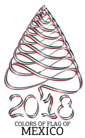 Ribbon in the shape of a Christmas tree with the colors of the flag of Mexico