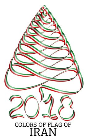 Ribbon in the shape of a Christmas tree with the colors of the flag of Iran