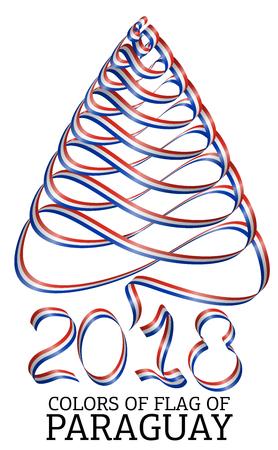 bandera de paraguay: Cinta con forma de árbol de Navidad con los colores de la bandera de Paraguay