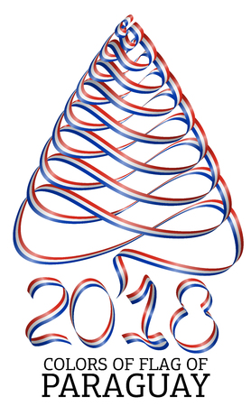 Ribbon in the shape of a Christmas tree with the colors of the flag of Paraguay Illustration