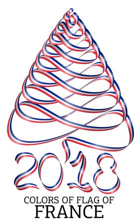 Ribbon in the shape of a Christmas tree with the colors of the flag of France Illustration