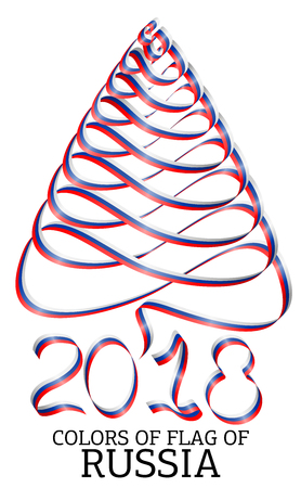 Ribbon in the shape of a Christmas tree with the colors of the flag of Russia