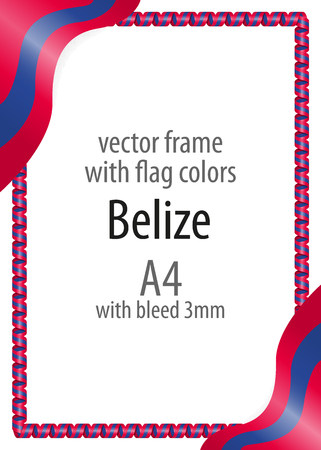 Frame and border of ribbon with the colors of the Belize flag Vectores