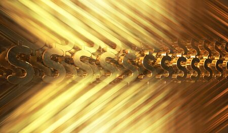 Abstract background with gold dollar symbols. 3d illustration