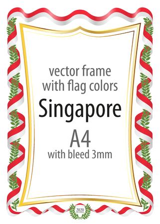 Frame and border of ribbon with the colors of the Singapore flag