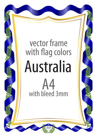 Frame And Border Of Ribbon With The Colors Of The Australia Flag ...