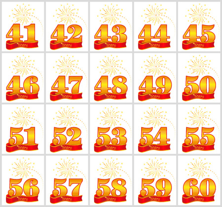 Set of gold numbers from 41 to 60 and the word of the year on the background of a red ribbon. Vector illustration.