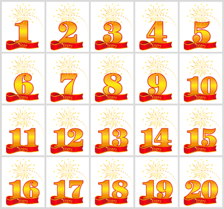 Set of gold numbers from 1 to 20 and the word of the year on the background of a red ribbon. Vector illustration.